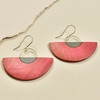 Half Moon Rare Wood Dangle Earrings, Red Rare Wood