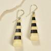 Long Pyramid Rare Wood Earrings - Black Pace