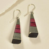 Long Pyramid Rare Wood Earrings - Black with Red Wood