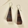 Long Pyramid Rare Wood Earrings - Dark Brown