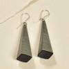 Long Pyramid Rare Wood Earrings - Stripe Rare Wood