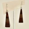 Long Pyramid Rare Wood Earrings - Dark Brown, hanging