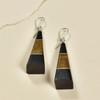 Long Pyramid Rare Wood Earrings - Two Tone Rare Wood