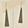 Long Pyramid Rare Wood Earrings - Stripe Rare Wood, hanging