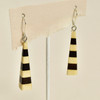 Long Pyramid Rare Wood Earrings - Black Pace, hanging
