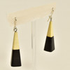 Long Pyramid Rare Wood Earrings - Black with Light Wood, hanging