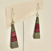 Long Pyramid Rare Wood Earrings - Black with Red Wood, hanging
