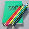 Marks Tous Les Jours Ballpoint Pens, olive, turquoise, navy, orange, pink, yellow, with notebook