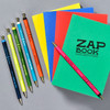 Zap Book Sketchbooks, green, red, blue, yellow with Tous Les Jours pens in various colors