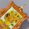 Vincent van Gogh Sunflowers 1889 Framed Polish Glass Ornament, close up