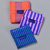 3 Piece Striped Shopper Set, folded in pouches