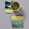 Yoshitoshi: Tile Pair by The Painted Lily, two tiles, with coffee mug