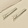 Sterling Silver Triangle Lines Earrings