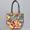 Blossoms Distressed Grey Floral Bucket Bag