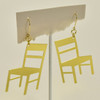 Cathedral Chairs Brass Earrings; hanging on stand
