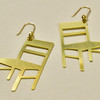 Cathedral Chairs Brass Earrings; angled laying flat