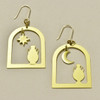 Arched Windows & Vases Brass Earrings; earrings laying flat