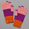 Magenta & Rust Colorblock Touchscreen Knit Gloves