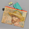 van Gogh Self-Portrait Zippered Pouch, with items inside