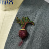 Embroidered & Beaded Beet Pin, on clothing