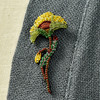 Embroidered & Beaded Yellow Poppy Pin, close up