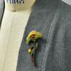 Embroidered & Beaded Yellow Poppy Pin