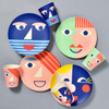 Bamboo Face Cups and plates, blue, coral, green, yellow (sold separately)