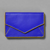 Leather Envelope Wallet, cobalt / yellow, front