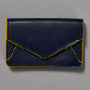 Leather Envelope Wallet, navy / yellow, front