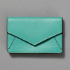 Leather Envelope Wallet, turquoise / brown, front