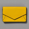 Leather Envelope Wallet, yellow / navy, front