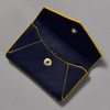 Leather Envelope Wallet, navy / yellow, open