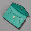 Leather Envelope Wallet, turquoise / brown, open