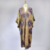 Hand Dyed Long Silk Satin Kimono, showing front, on mannequin