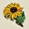 Embroidered and Beaded Sunflower Pin