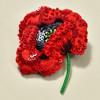Embroidered and Beaded Red Poppy Pin