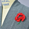 Embroidered and Beaded Red Poppy Pin, on clothing