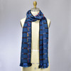 Bright Blue Bamboo Scarf with Multicolor Tassels, on mannequin