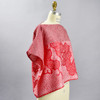 One Of A Kind Light Red with Cascading Flowers Shibori Blouse, on mannequin