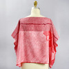 One Of A Kind Light Red with Cascading Flowers Shibori Blouse, back, on mannequin