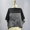 One Of A Kind Black with Teal Accent Shibori Blouse, front, on mannequin