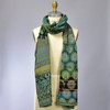 Organic French Jacquard Scarf: Hunter Green, on mannequin