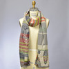 Organic French Jacquard Scarf: Navy Plaid, on mannequin
