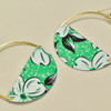 Vintage Tin Big Mama Mint Earrings, close up