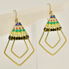 Vintage Tin Deco Ray Earrings, hanging