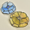 Artisan Glass Trinket Dish, in amber and blue