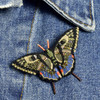 Embroidered & Beaded Swallowtail Butterfly Pin, on clothes