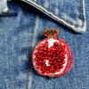 Embroidered & Beaded Pomegranate Pin, on clothing