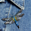 Embroidered and Beaded Blue Dragonfly Pin, on clothing