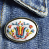Pin Embroidered Tulip, on clothing